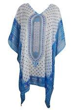 Beach Cover Up Lightweight Caftan Dress Blue White Dashiki Print Resort Wear