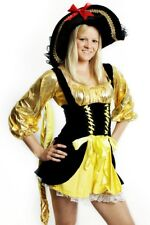 Womens Black and Gold Pirate Sailor Wench Ladies Fancy Dress Costume Size 10-12