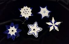 New Blue and White Delft-Like Mixed Star-shaped Christmas Ornaments, Set of 5