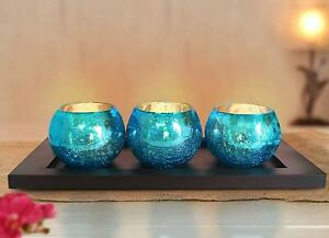 Crackle Votive Tealight Candle Holders with Wooden Tray Decoration for Home