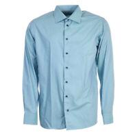 Eton Shirt Blau Wabenmuster Baumwolle Slim Fit Größe XL Tr 200