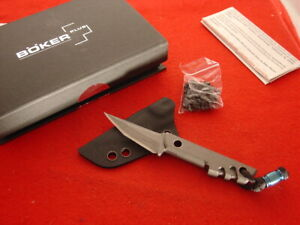"""Boker Plus 5"""" MINI SLIK TANTO Fixed Blade Neck Knife & Sheath MINT"""