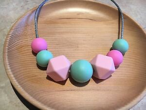 Silicone Necklace for Mum Jewellery Beads Pastel Aus Sensory was teething Gift