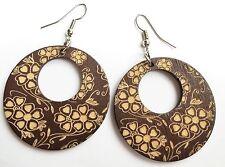 Boho Hippy Gypsy 70s Style Open Hoop Brown Floral Wood Fashion Earrings