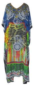 Sheer Georgette Embellished Caftan, Digital Print Boho Kaftan, Size 16-18-20-22