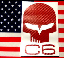 "2 JAKE C6 Corvette Decal 3""x5"" quality 3D Carbon Fiber Vinyl RED buy 2 Get1 FREE"