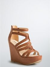 8196c7d7e216 Torrid Braided Strappy Platform Wedges Brown Faux Leather Wide Width Sz 10   8322