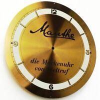 MAUTHE Uhr Altes Messing Blechschild um 1965 PERFEKT Kurios wie Ziffernblatt RAR