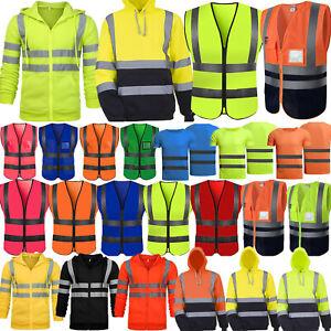 Hi Viz High Visibility Jacket Coat Mens Safety Work Hoodie Reflective Shirt Vest