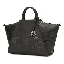 Raviani New All Leather Satchel In Black Embossed Crocodile Cowhide Leather