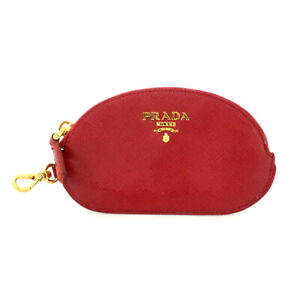 PRADA Saffiano Red Leather Coin Purse Wallet/82611