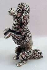 Poodle Dog Peltro Pewter Figurine Italy Paperweight Silver