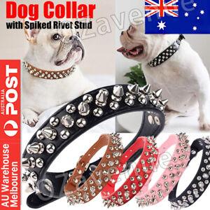 Pet Dog Collar Adjustable Heavy Duty Spiked Studded Rivet PU Puppy Collar Mel