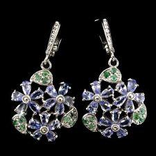 Große Ohrringe Tansanit Smaragd 925 Silber 585 Weißgold
