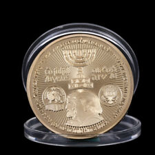 2018 King Cyrus Donald Trump Gold Plated Coin Jewish Temple Jerusalem Israel  FO