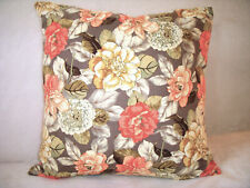 Handmade Roses Pillow Cover Peach Pink Yellow Gold Cream Green Blue Cottage