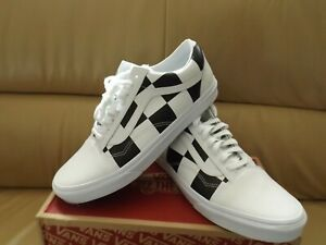 Vans Old Skool Leather Check Women's Shoes Size 10.5 White/Black VN0A4BV5TPL