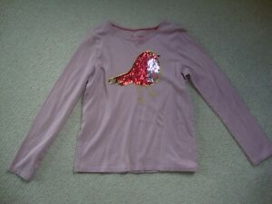 Mini Boden girl's sequin Robin long sleeved top age 11-12 - Christmas