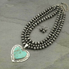 *NWT* Large Heart Pendant Natural Turquoise Necklace Set South Western
