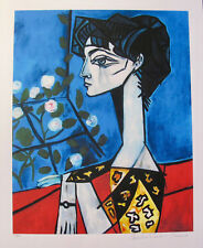 Pablo Picasso JACQUELINE ROQUE WITH FLOWERS Estate Signed & Numbered Giclee