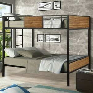 Full-over-full bunk bed modern steel frame bunk bed with safety rail ladder