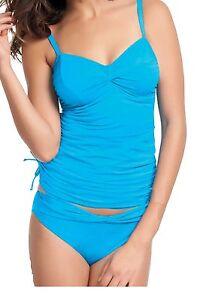 -FANTASIE CAIRNS U/W TWIST-FRONT TANKINI BRA+MATCHING-CLASSIC-PANT-BLUE-LAGOON