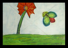 Red Flower and the BUG ~ Original Oil PAINTING ~ Kitsch Pop Art CATHY PETERSON