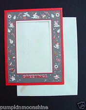 #G757- Vintage Unused Xmas Picture Frame Greeting Card Holiday Decor Border