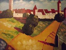 """Pintura Al Óleo Grande Abstracto Ciudad mínima Lona Arte Contemporáneo Moderno 20x24"""""""