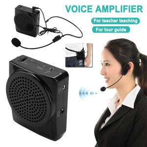Portable Rechargeable Voice Sound Amplifier Microphone Teaching Speaker Black