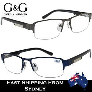 Mens Reading Glasses Metal Half Frame Optical Spring Loaded Gun Blue+1.0~+3.5