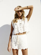 Somedays Lovin Pitstop Lace Broderie Anglais White Summer Beach Shorts S 8 - 10