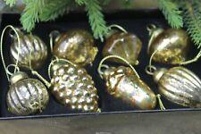 GISELA GRAHAM CHRISTMAS ANTIQUE GOLD GLASS MINI SHAPE BAUBLE DECORATION X 8