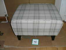 CREAM AND BEIGE CHECKED WOOL WEAVE LOAFER FOOTSTOOL/14cms SQUARE  TAPERED LEGS