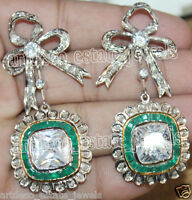 2.50ct ROSE CUT DIAMOND EMERALD VICTORIAN LOOK 925 SILVER DANGLER EARRING