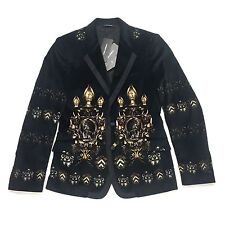 NWT $3k Dolce & Gabbana Men's RUNWAY Coat of Arms Print Velvet Blazer AUTHENTIC