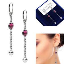 925 Sterling Silver Long Earrings Amethyst Xirius Genuine Swarovski® Crystals