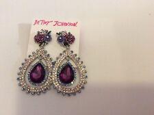 $75 Betsey Johnson  Pave Drop Earrings #S Purple. BJF2