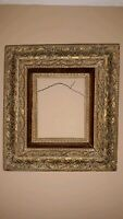 Antique Victorian picture Frame wood gesso ornate hearts rope chains velvet