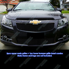 Fits 2011-2014 Chevy Cruze Black Billet Grille Grill Insert Combo