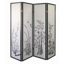 4 & 3 Panel Wood Shoji Screen Room Divider Flowered Design