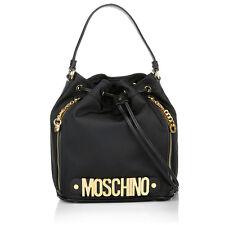 Moschino Couture Jeremy Scott Black Bucket Bag w/ Gold Logo MADE IN HEAVEN LOGO