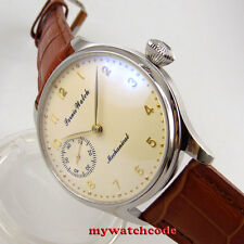 new arrive 44mm parnis yellow dial 6497 movement hand winding mens watch P369