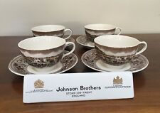 Johnson Bros HISTORIC AMERICA Multicolor Flat Cup & Saucer Gold Rush ~ Set of 4