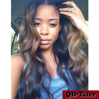 Ombre 100% Brazilian Remy Full Lace Human Hair Wigs Body Wavy Lace Front Wig