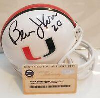 Bernie Kosar Signed Riddell University of Miami Mini-helmet Insc Steiner COA