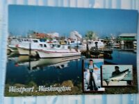 VINTAGE PHOTO POST CARD (fishing port).  from WESTPORT WASHINGTON