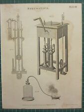 1802 DATED ANTIQUE PRINT ~ PNEUMATICS VARIOUS EXPERIMENT APPARATUS