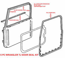 Door Weatherstrip Seal Kit L & R Full Doors 6 pc set, Jeep Wrangler TJ 97-06