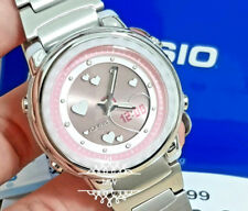 Casio Law25d-4av Womens Red Dial Analog Quartz Watch With Stainless Steel Strap